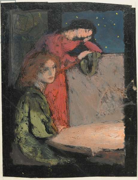 Two Girls by a Table Look out on a Starry Night, 1905 (tempera on card)