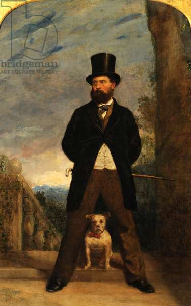 Self-Portrait with his Dog, Madame Sacchi, c.1866 (oil on canvas)