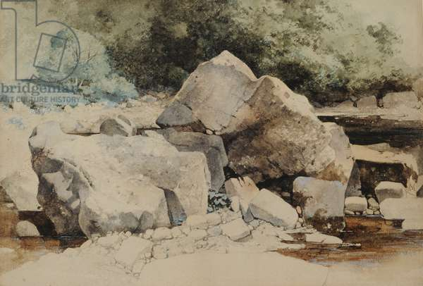 Rocks in a Mountain Stream, 1840-58 (w/c on paper)