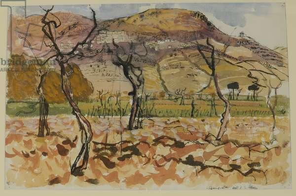 Spanish Landscape - Village on a Hill, 1950-60 (w/c on paper)