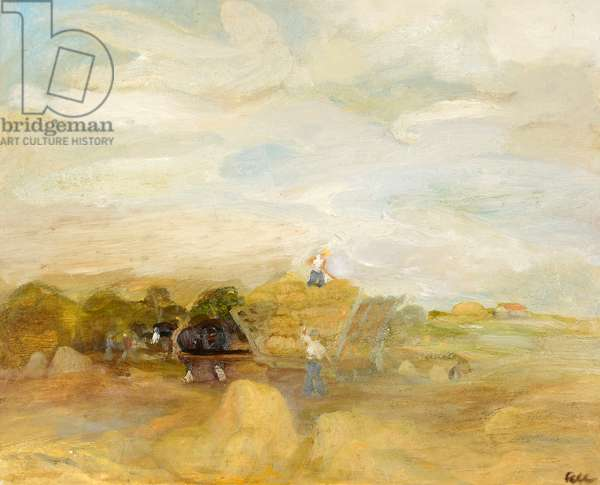Harvest Field in Cumberland, 1975 (oil on canvas)