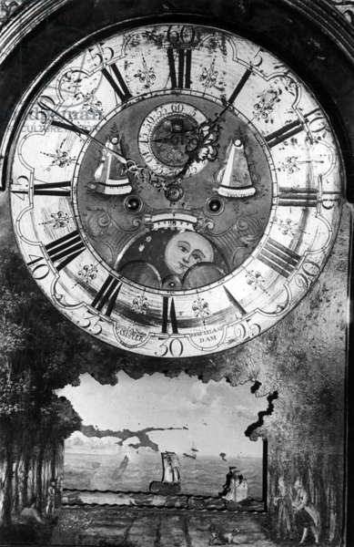 The 'Haunted' Grandfather Clock, Birr Castle, County Offaly, Ireland (b/w photo)