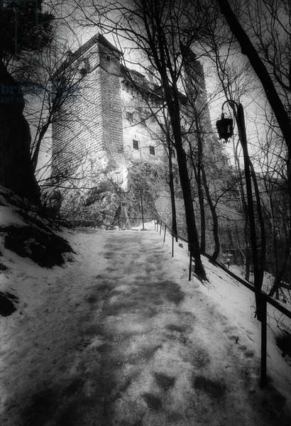 Bran Castle, Transylvania, Romania (b/w photo)