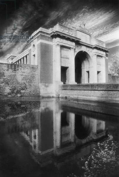 The Menin Gate & 'Hall of Memory', Ypres (b/w photo)