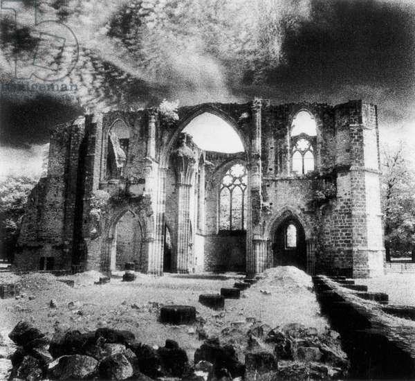 Dammarie-les-Lys Abbey, Isle-De-France, France (b/w photo)