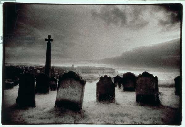 Whitby Graveyard, Yorkshire (b/w photo)