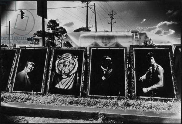 Paintings by the Highway, Louisiana, USA (b/w photo)