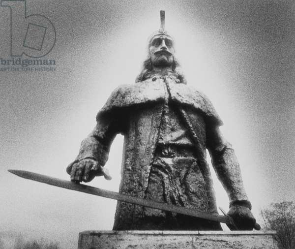 Statue of Vlad Tepes (Dracula) Tirgoviste Park, Wallachia, Romania, 1993 (b/w photo)