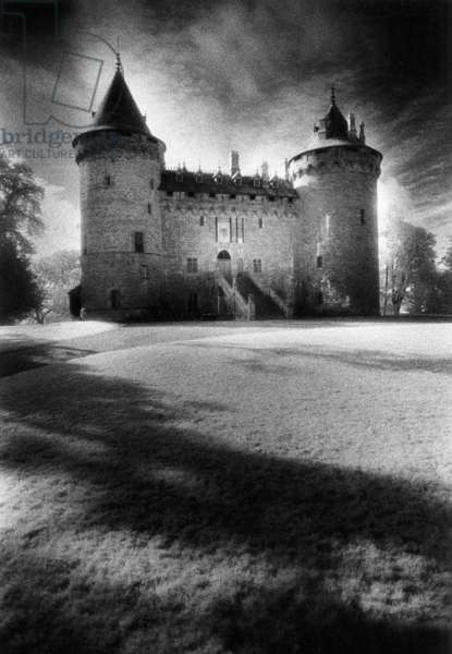 Combourg Chateau, Combourg, Brittany, France (b/w photo)