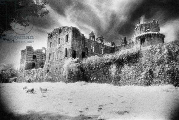 Chateau de Gramont, Bidache, The Pyrenees, France (b/w photo)