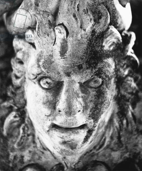 Detail from an urn, Battle Abbey, Sussex (b/w photo)