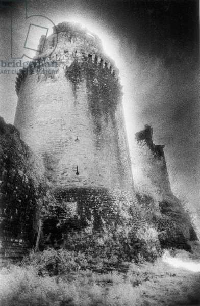 Towers, Chateau de Gramont, Bidache, The Pyrenees, France (b/w photo)
