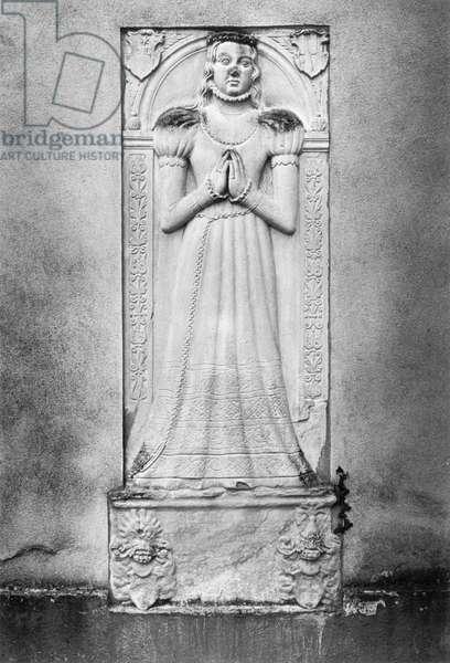 Monument to Anna von Frankenstein, Niederbeerbach Church, Hessen, Germany (b/w photo)