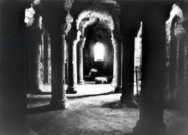 The Crypt, Chateau de Tiffauges, Vendee, France (b/w photo)