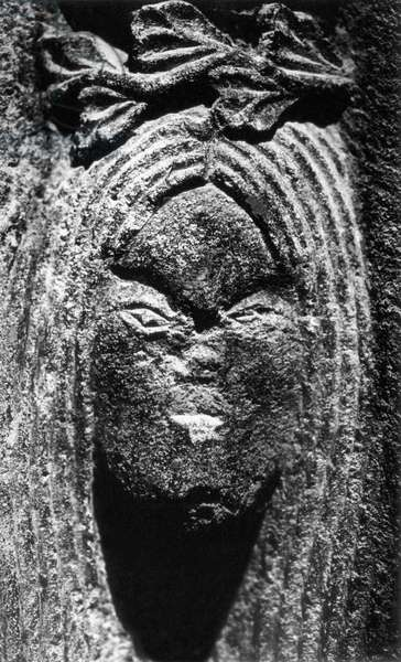 Detail of a medallion, House of the Templars, Salers, Auvergne, France (b/w photo)