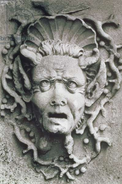 Detail from an urn, Belvoir Castle, Leicestershire (b/w photo)