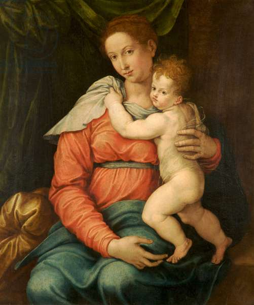 Virgin and Child Before a Green Curtain (oil on panel)