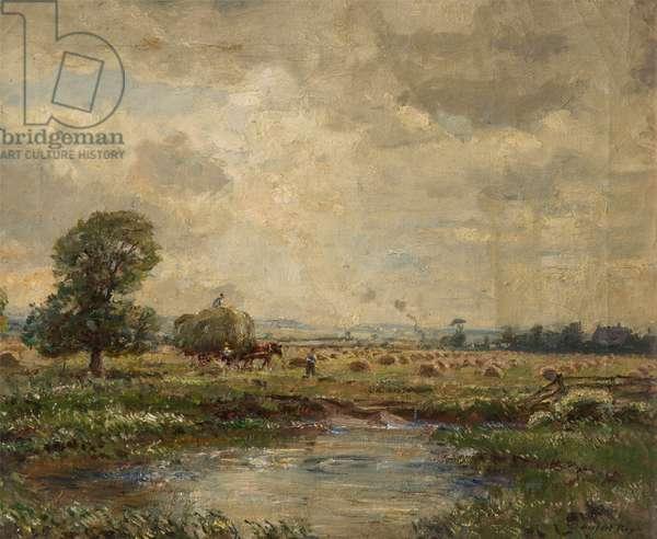 Haytime - Halsall Moss, c.1930-50 (oil on canvas)