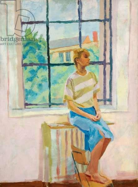 Paula Sitting on the Radiator, c.1983-6 (oil on canvas)