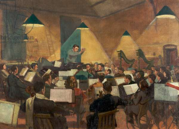 Barbirolli conducting the Halle Orchestra, c.1945 (oil on canvas)