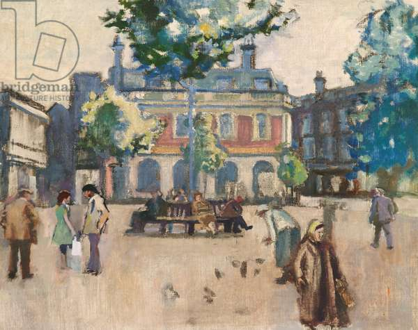 The Square, Hyde, c.1970s (oil on canvas)
