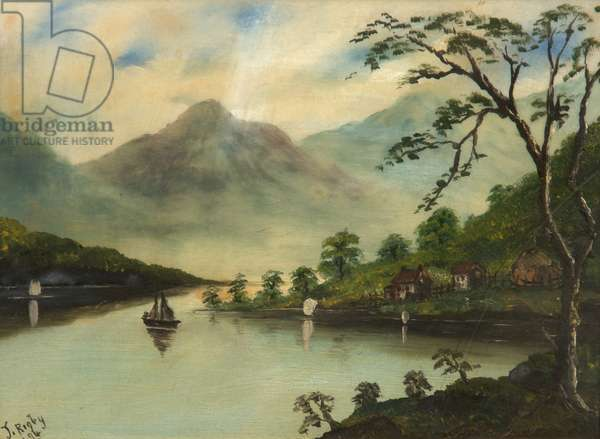 Landscape with Lake, Mountains and Sailing Boat, 1894 (oil on glass)