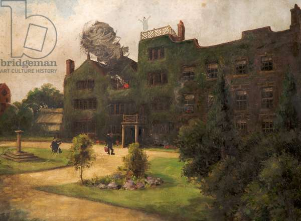 House on Fire, c.1950s (oil on canvas)