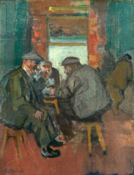 The Domino Players (recto), c.1960s (oil on canvas)