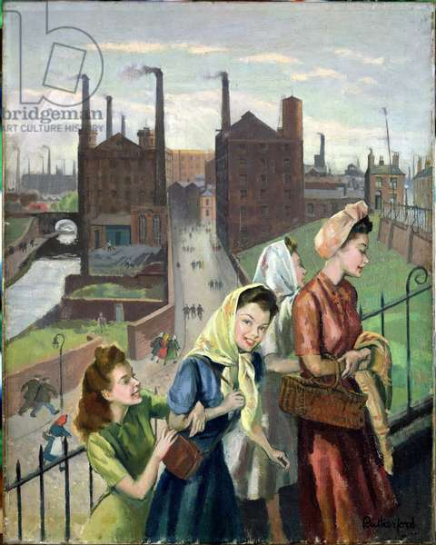 Mill Girls, Ashton, 1948 (oil on canvas)