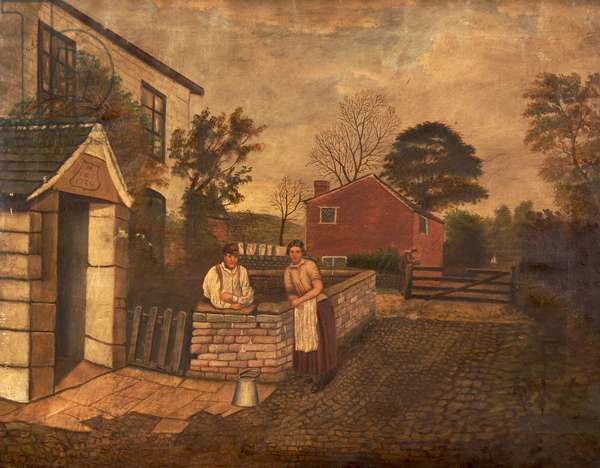 Untitled (three figures outside a Cottage dated 1720), c.1830-70 (oil on canvas)
