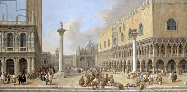 The Piazzetta at Venice (oil on canvas)