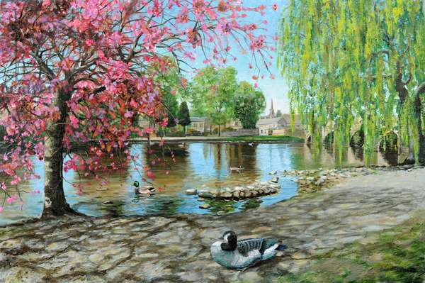 Bakewell Bridge, Derbyshire, 2009 (oil on canvas)