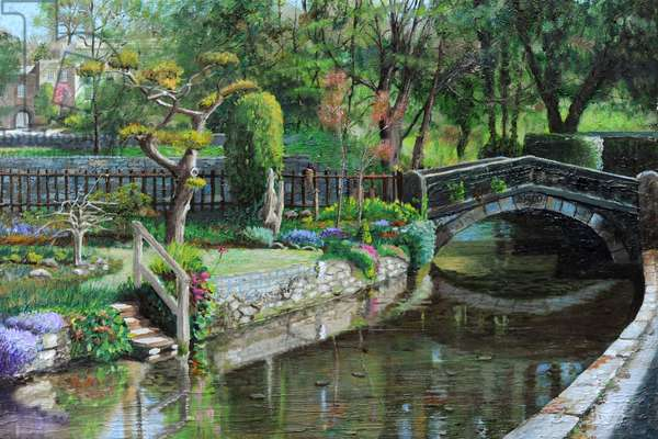 Bridge and Garden, Bakewell, Derbyshire, 2009 (oil on canvas)