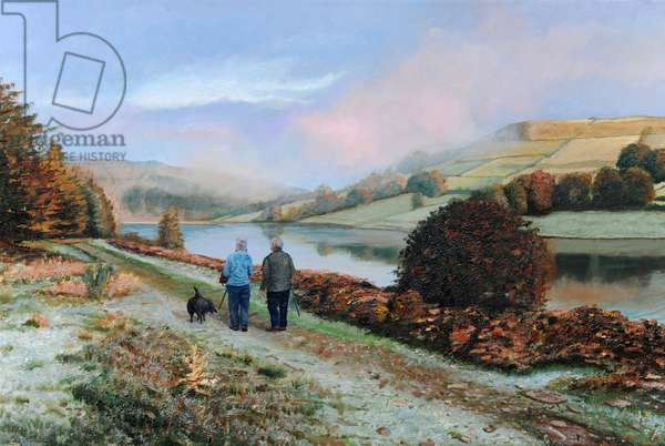 Ladybower Reservoir, Derbyshire, 2009 (oil on canvas)