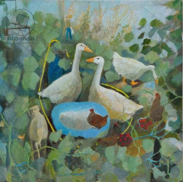 Pet Geese, 2011 (oil on board)