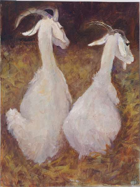 Two Goats, 2008 (oil on card)