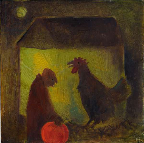 Evening Rooster, 2011 (oil on card)
