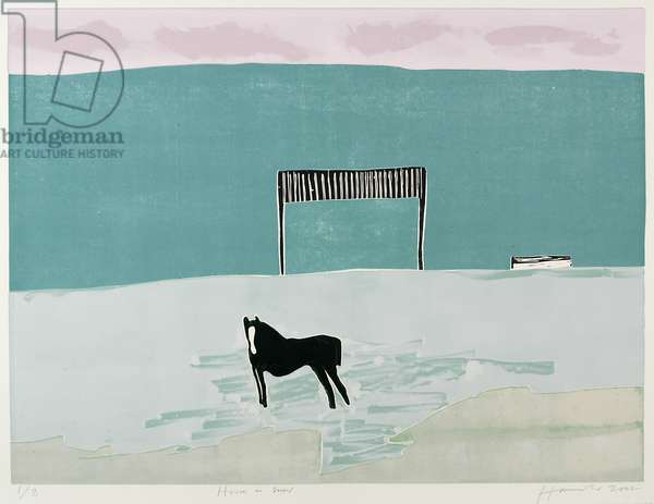 Horse in the Snow, 2002 (colour woodcut)