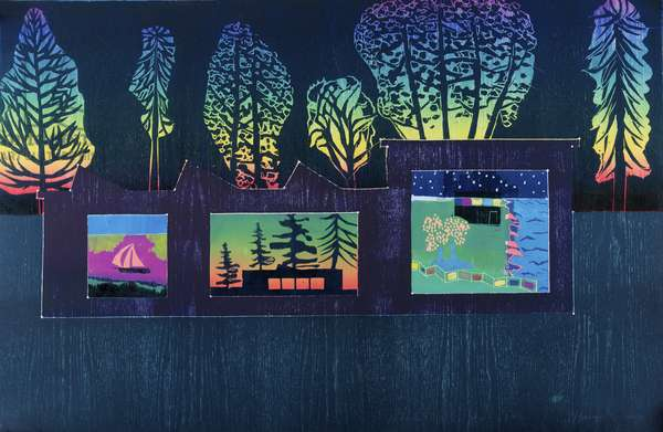 Nocturnal, Paintings seen from a Garden 1/12, 2012 (edition variable reduction woodcut)