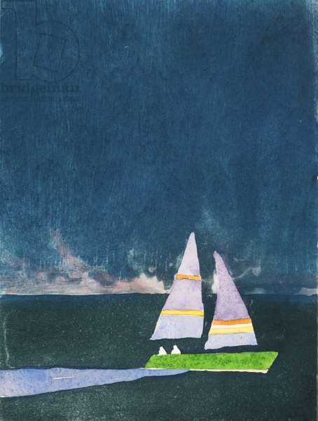 Night Sail, 2012 (hand-coloured etching)
