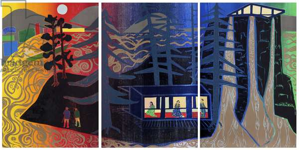 Island Studio Triptych 1/7, 2012 (edition variable reduction woodcut)