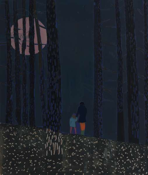 Moonlit Woods, 2011 (edition variable reduction woodcut)