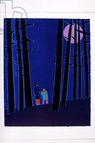Moonlit Woods, 2012 (edition variable reduction woodcut)