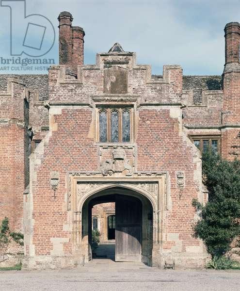 View of the entrance gateway, Compton Wynyates, Warwickshire, built c.1480 (photo)