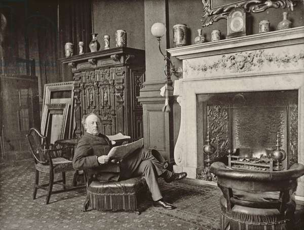 John Everett Millais, portrait photograph by J.P. Mayall in the 'Artists at Home' series, 1884 (b/w photo)