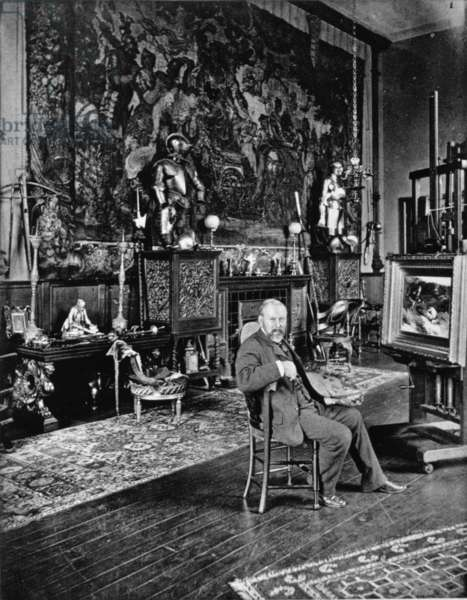 John Pettie, portrait photograph by J.P. Mayall in the 'Artists at Home' series, 1884 (b/w photo)