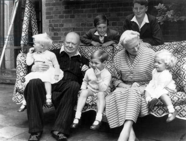 Sir Winston and Lady Churchill with their grandchildren (Celia on right) at Chartwell, Westerham, Kent, 1951 (b/w photo)