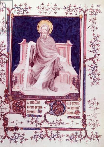 Ms Fr 13091 f.26 St. Simon, from the Psalter of Jean, Duke of Berry (vellum)