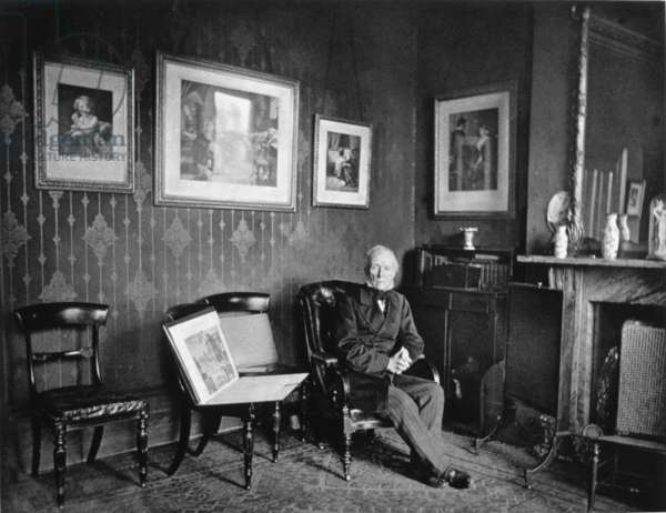Samuel Cousins, engraver, portrait photograph by J.P. Mayall in the 'Artists at Home' series, 1884 (b/w photo)