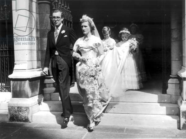 The Hon Margaret Elphinstone married Denys Rhodes today, 31st July 1950 (b/w photo)